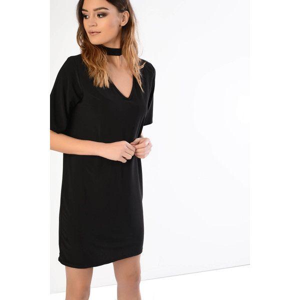 Glamorous Black Chocker Detail Shift Dress (£17) ❤ liked on Polyvore featuring dresses, black, glamorous dresses, deep v neckline dress, shift dress, low v neck dress and short-sleeve dresses