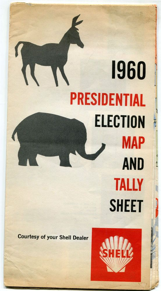 Shell Oil 1960 Presidential Election Map & Tally Sheet