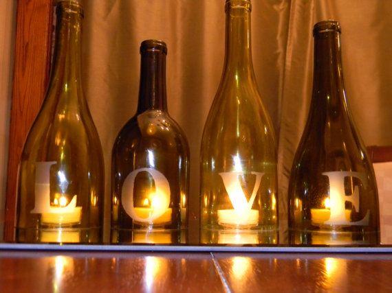 LOVE - Wine Bottle Centerpiece or Mantle Accent.