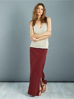 Falda larga de punto flameado - Kiabi