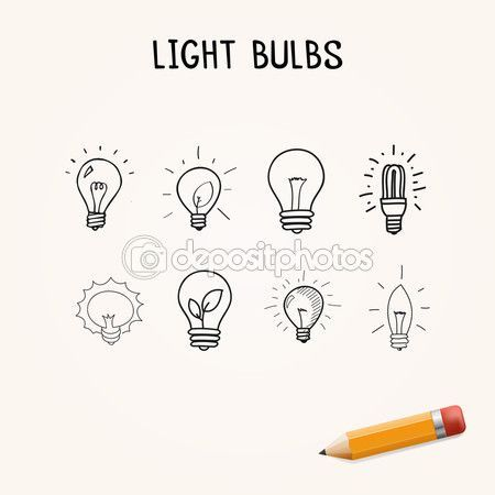 Hand-drawn light bulbs — Stock Illustration #81756496