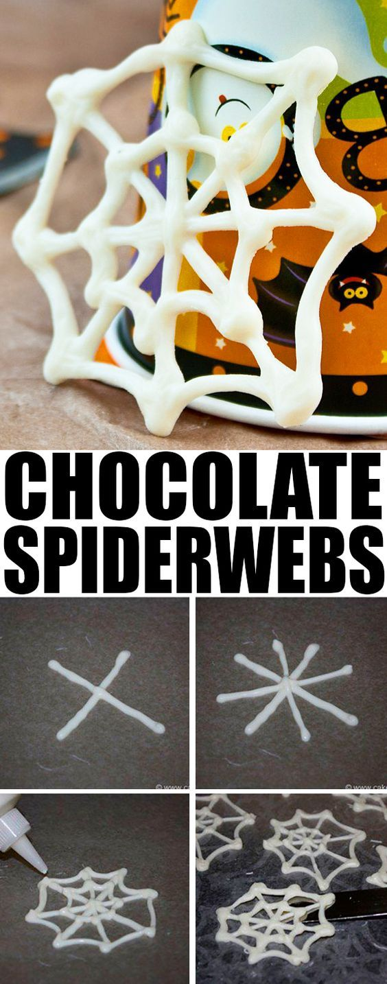 Quick and easy CHOCOLATE SPIDER WEB CUPCAKES for Halloween parties. You just need melted chocolate for these easy Halloween cupcakes. From cakewhiz.com #halloween #cupcake #spiderweb