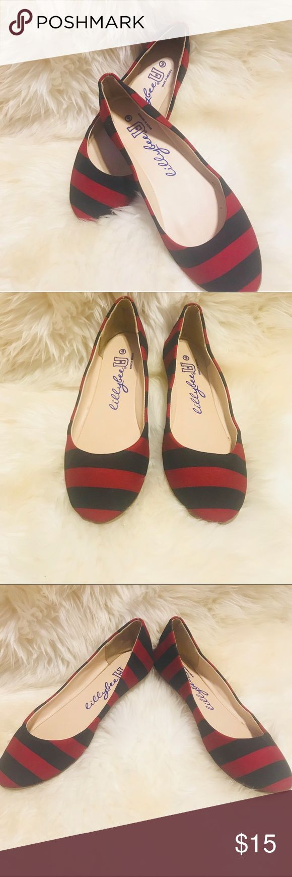 *5 FOR $25* LillyBee Striped Ballet Flats *5 for $25* Add 5 qualifying items to a bundle, Use offer button, Offer $25 & I will accept! LillyBee Stripe Ballet Flats, Size 9, Black and Maroon / Burgundy Strips, Only Worn a few times, In Excellent Used Condition! LillyBee Shoes Flats & Loafers