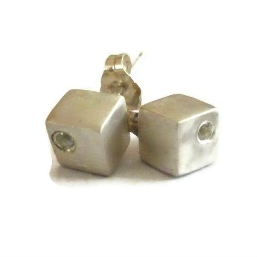 Visibly Interesting: Mini Sterling Silver cube stud earrings each set with a 2mm brilliant cut White Sapphire in the corner. By Sheri Beryl