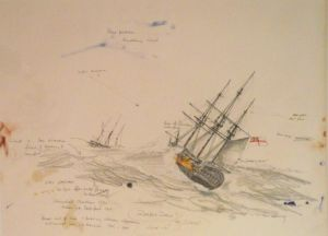 Paul Deacon, 'Nautical Sketch' Mixed media on paper, 765 x 580 mm, POA at the Remuera Gallery