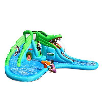 Château gonflable aquatique crocodile avec toboggans