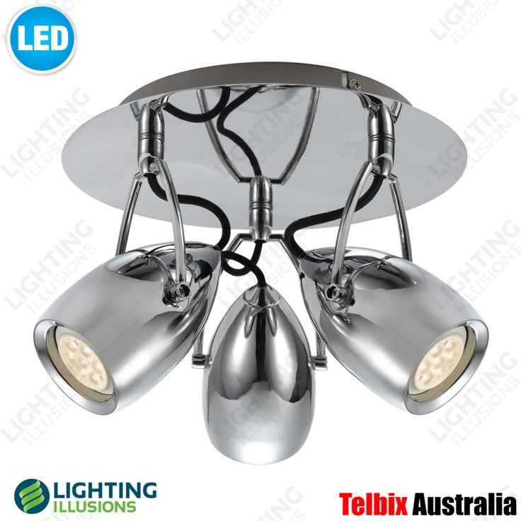 Round 3 Light Tolosa Chrome LED Adjustable Wall / Ceiling Spotlight