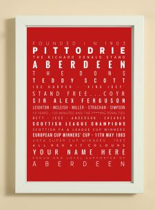 Aberdeen Football Club Word Art Design Print - Words, Names And Facts Associated With Aberdeen FC - In White Or Black A4 Box Frame