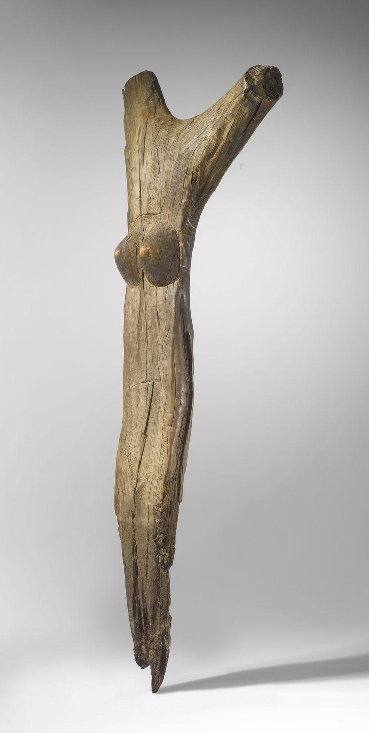 DOGON ANTHROPOMORPHIC TOGUNA HOUSEPOST, MALI Height: 58 1/2 in (148.6 cm)