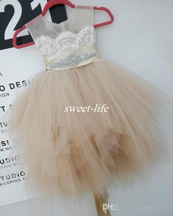 Cute Flower Girl Dresses for Wedding Party Champagne Lace Tulle Knee Length Beaded Belt Sheer Crew Neck 2016 Baby Communion Birthday Dresses Online with $74.64/Piece on Sweet-life's Store | DHgate.com