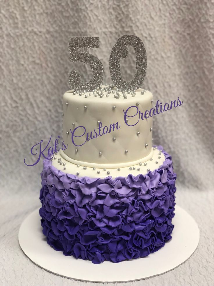 Admirable Purple And Silver Ruffle 50Th Birthday Cake With Images 50Th Funny Birthday Cards Online Ioscodamsfinfo