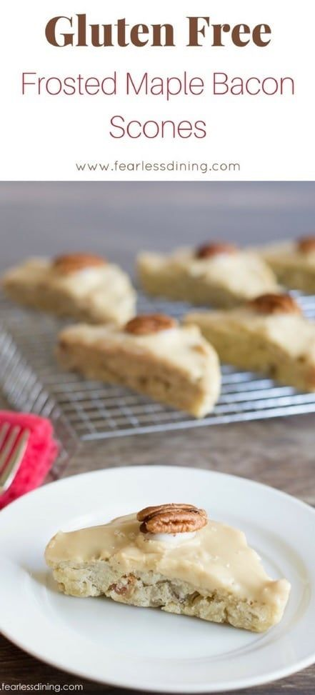 These are the best gluten free scones ever! Gluten Free Frosted Maple Bacon Scones are a delicious treat to go with that coffee! Easy step by step directions to make these gluten free scones and maple glaze! Recipe at www.fearlessdining.com #scones #maplebacon #glutenfree #glutenfreescones via @fearlessdining