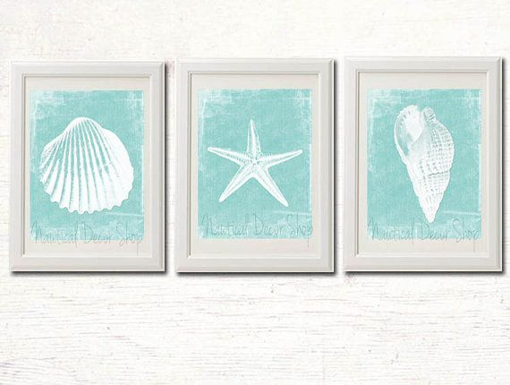 Printable Beach Decor, Bathroom Instant Download,  Coastal Decor, Beach Wall Art, Seashell Starfish Modern Beach