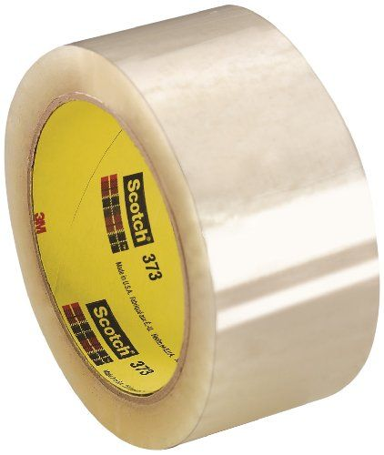 3M Scotch Box Sealing Tape 373, 72 mm x 50 m, Clear (Pack of 24)  Adhesive sticks quickly to a variety of materials, including corrugated fiberboard  Bonds instantly and resists tearing and splitting for added security  High performance tape resists nicks, abrasions, moisture and scuffing  Conformable backing ensures a tight seal around corners and rough areas  Available in new convenient-sized packaging  A box sealing tape with a strong backing and high performance adhesive that provi...