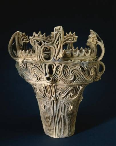 Jomon, Japan, 2500 BC.  These will BLOW YOU AWAY in person, they are huge and ancient and ornate.  Amazing.