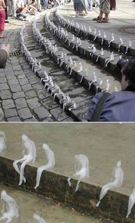 Brazilian artist Nele Azevedo created hundreds of sitting figures out of ice. The installation lasted till the last one melted in the heat of the day