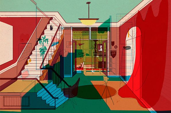 Illustration: Mike Ellis illustrates rooms from his friends' houses