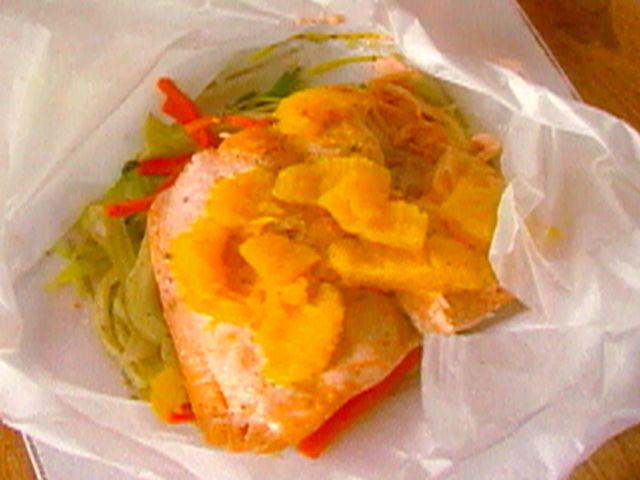 Salmon Fillet en Papillote with Julienne Vegetables (microwave or oven @ 425deg for 12-15 min)