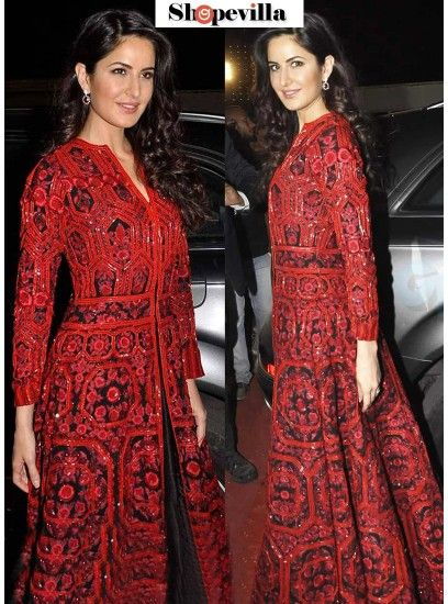 Katrina Kaif Red Banglori Silk Gown-KD-1117
