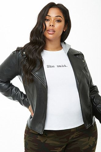 0e92ee16d5 Plus Size Faux Leather Combo Moto Jacket | Products | Leather, Moto ...