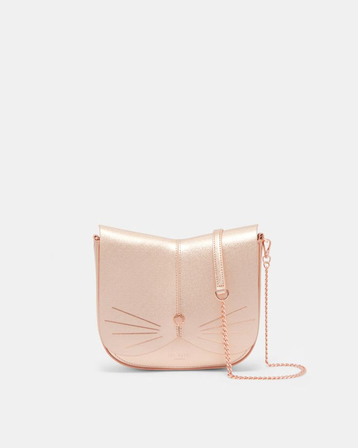 Cat leather cross body bag - Rose Gold | Bags | Ted Baker UK