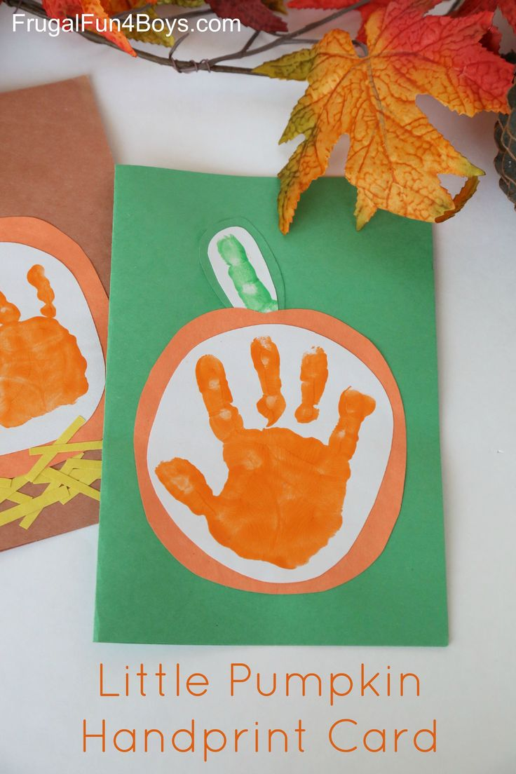 your little pumpkin handprint card for kids to make - Preschool Halloween Art Projects