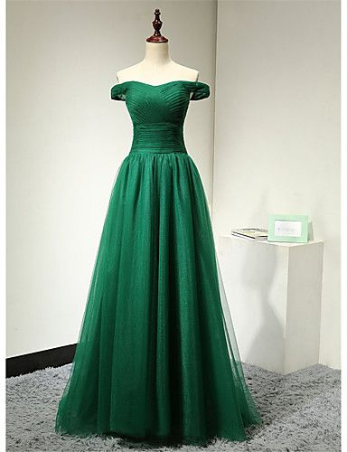 Formal Evening Dress A-line Off-the-shoulder Floor-length Tulle / Stretch Satin with Pleats 5091759 2016 – $142.99