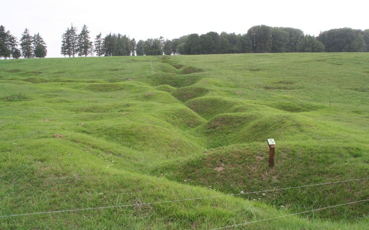 Note the zigzag path of a trench line from WWI