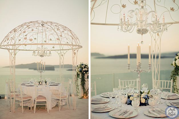 Private Villa Wedding in Santorini   Greece Wedding by Stella and Moscha - Exclusive Greek Island Weddings   Photo by Anna Roussos   http://www.stellaandmoscha.com/wedding-photos/private-villa-wedding/ #chandelier #canopy