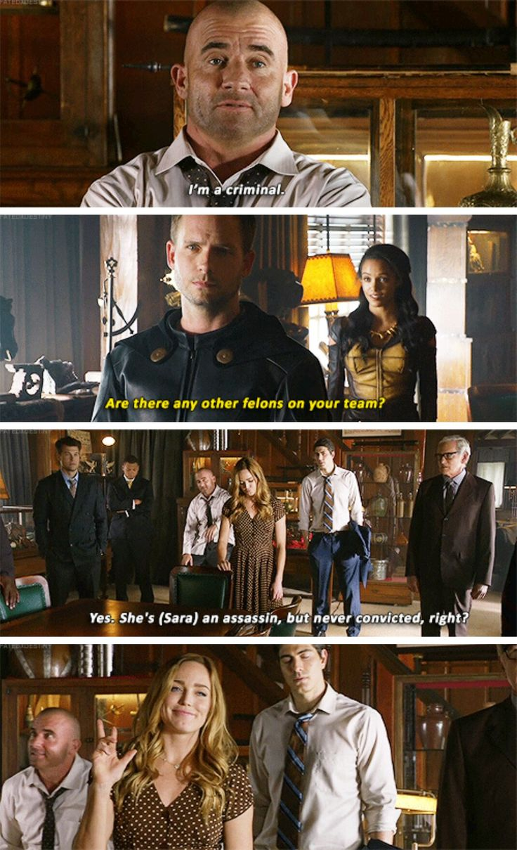 """""""Are there any other felons on your team?"""" - Rex, Amaya, Mick, Sara, Ray, Nate, Stein and Jax #LegendsOfTomorrow"""