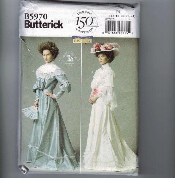 Missers naaien patroon Butterick B5970 Retro Vintage Edwardian Victoriaanse jurk kostuum grootte 16 18 20 22 24 ONBESNEDEN