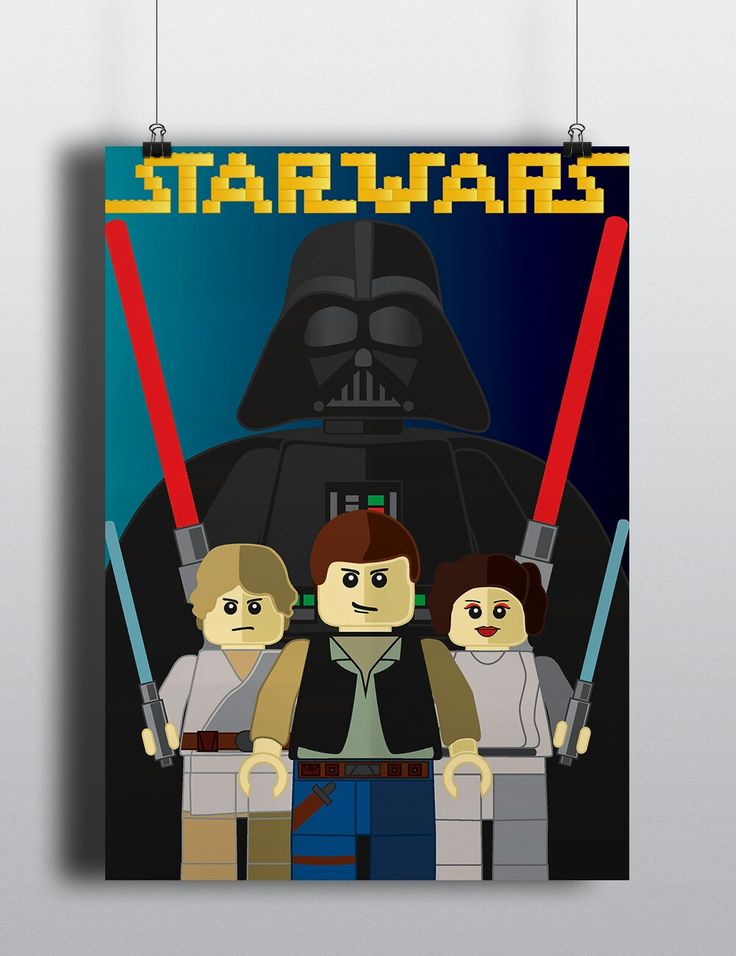 Illustrated poster on Lego Star Wars with the Star Wars typeface illustrated with the traditional Lego blocks.