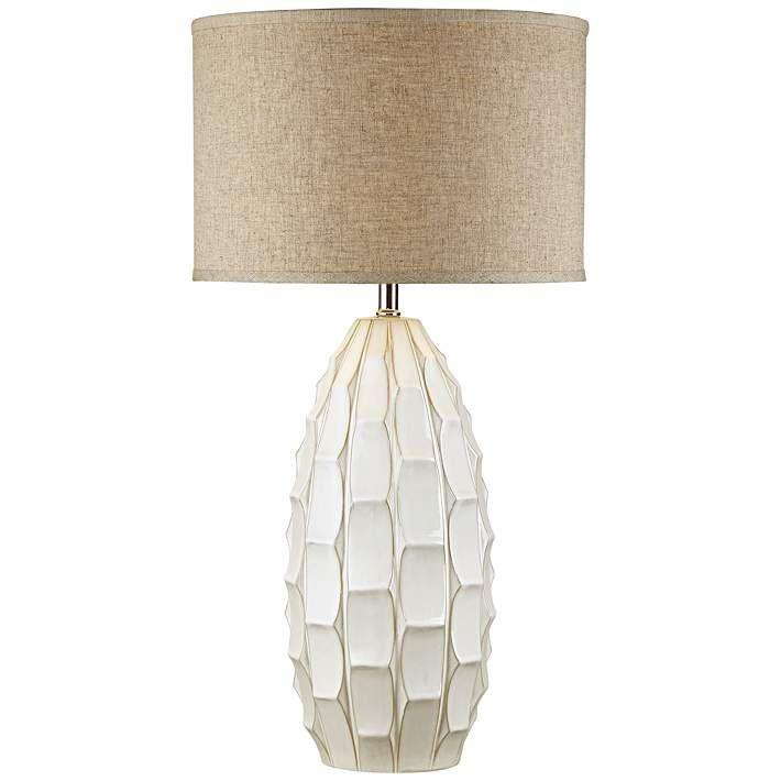 Cosgrove Oval White Ceramic Table Lamp 17v23 Lamps Plus In 2019 Ceramic Table Lamps Table Lamp White Ceramics