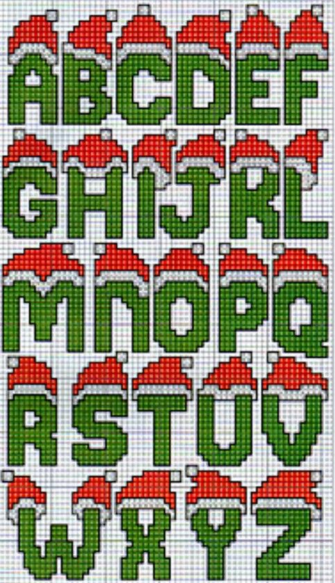 Alphabet with Santa Hats