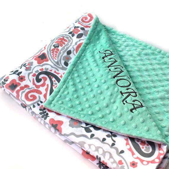 Personalized Baby Blanket / 42 x 55 Minky Blanket Girl Coral - Paisley Nursery