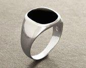 Anillo Hipster, anillo ónix negro, plata 925, anillo de hombres modernos, piedra preciosa ónix, joyas hombre, Anillos de gran tamaño negro