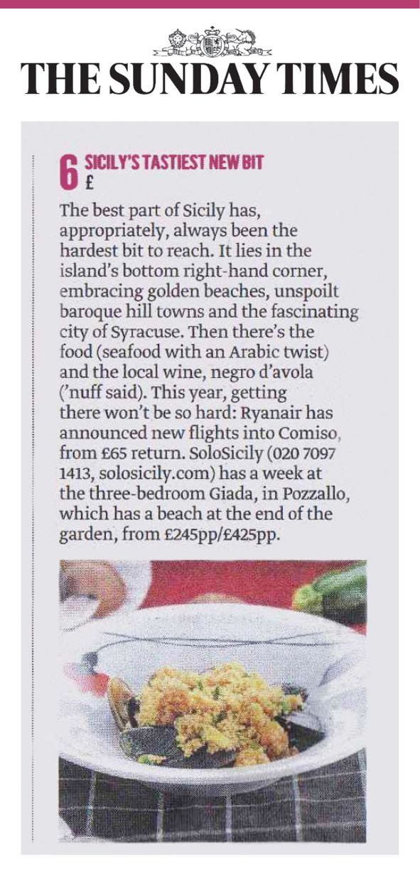 Our new villa Giada featured #6 in the Sunday Times Ultimate 100 holidays! #Sicily #Villas #Holidays #Beachhouse