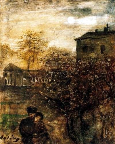 Gulácsy Lajos: SZERELMESEK HOLDFÉNYNÉL  1908 körül olaj,  vászon (magántulajdon)