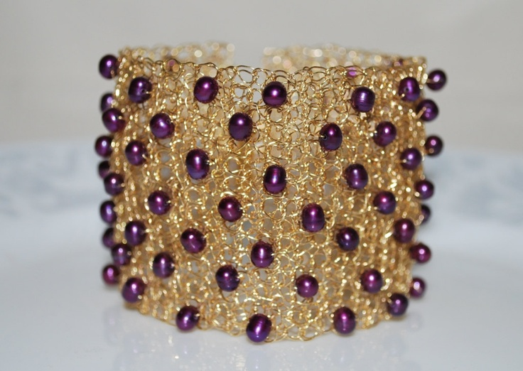 Crocheted Wire Beaded Cuff Bracelet,