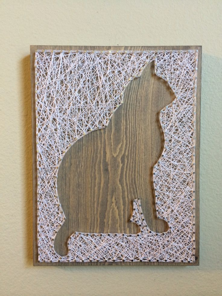 Cat Silhouette String Art - order from KiwiStrings on Etsy! www.KiwiStrings.etsy.com