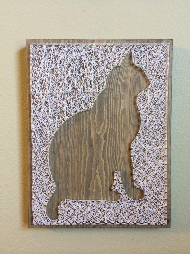 Cat Silhouette String Art - order from KiwiStrings on Etsy! www.KiwiStrings.etsy.com