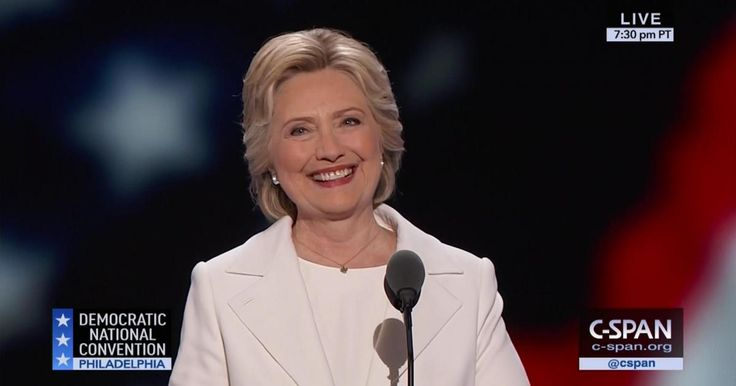 """ Hillary Clinton accepted the Democratic Party's nomination for president by saying ""It is with humility, determination, and boundless confidence in America's promise that I accept your nomination for president of the United States."""