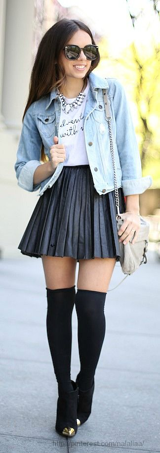 Jean jacket, graphic tee, black skater skirt, black knee high socks