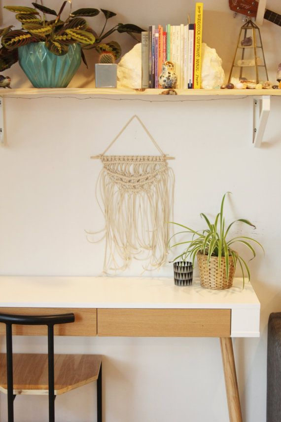 Macrame Wall Hanging on Wooden Dowel. Natural by #FALLandFOUND