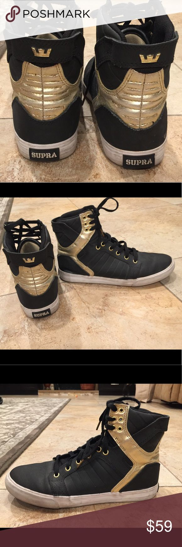 Supra high top black and gold mans size 39 Used but great  condition, black and gold color, very unique shoe. Supra Shoes Sneakers