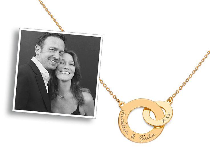 Auch Celebrities lieben die zeitlosen Designs von Merci Maman. Die Stilikone Carla Bruni-Sarkozy trägt unsere Halskette mit verschlungenen Ringen, welche von Hand im Merci Maman Atelier graviert wurde.