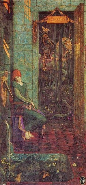 Pre Raphaelite Art: Owain Departs from Landine. Edward Burne-Jones-the colours in this are STUNNING!