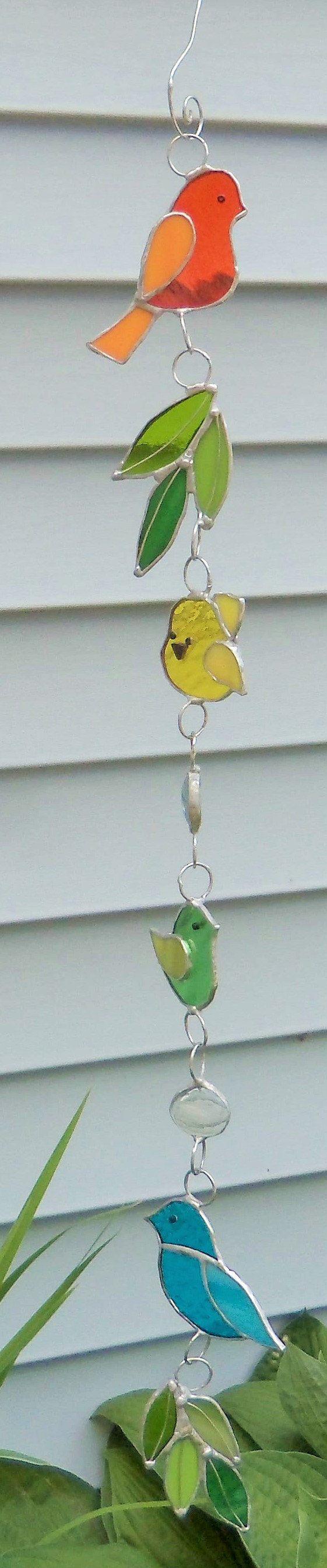 Vidrieras-aves-sol Catcher-Garland-Multi colores 31 pulgadas