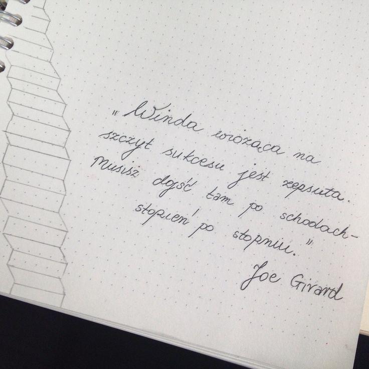 """""""Winda wioząca na szczyt sukcesu jest zepsuta. Musisz dojść tam po schodach - stopień po stopniu"""". - Joe Girard #Citybook #Citylight"""