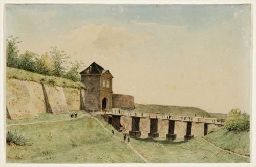 De Nijmeegse stadswal met Molenpoort, gracht en brug, gezien uit het zuidwesten door Rudolphus Lauwerier - 1876.